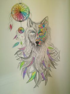 #wolf; #wall; #watercolor; #dream; #catcher