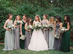 An earthy mix of forest green, sage green, and slate gray. | 21 Beautiful And Unexpected Bridesmaid Dress Colors Women, Men and Kids Outfit Ideas on our website at 7ootd.com #ootd #7ootd