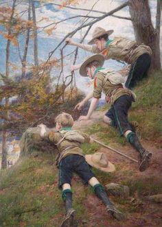 The Wide Game, 1912 by George Hillyard Swinstead (British . Scouts on Hampstead Heath tracking and observing their fellow Scouts. Les Scouts, Girl Scouts, Baden Powell Scouts, Cub Scout Activities, Scout Camping, Boys Life, Eagle Scout, Art Uk, Girl Guides