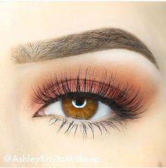 Soft peach eye makeup look