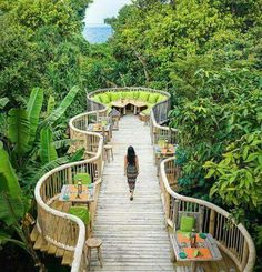 at the soneva fushi resort in the guests can dine in the lush jungle treetops and overlook the ocean. photo by ⠀⠀… Landscape Architecture Design, Futuristic Architecture, Park Landscape, Urban Landscape, Interior Tropical, Bridge Design, Parking Design, Mountain Resort, Urban Planning