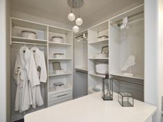 A girl's best friend! This walk-in closet is ready to be stocked with plenty of storage space and a little counter to display your favorite pretty things! - Avalon (photo courtesy of Parkwood Builders) Custom Closet Design, Custom Closets, Closet Designs, Shelving Solutions, No Closet Solutions, Shelving Ideas, Small Closet Organization, Closet Shelves, Clothing Organization