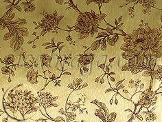 Ciça Braga - Papel de parede   Papel de Parede Vinílico Bright Wall (Americano) - Floral (Dourado/ Leve Vermelho Cereja) - COLA GRÁTIS