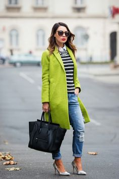 Cashmere in Style : Lime Green & Stripes Green Coat, Green Jacket, Winter Mode, Ysl, Autumn Winter Fashion, Fall Winter, Winter Chic, Winter Coats, Green Stripes