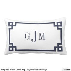 Navy and White Greek Key Monogram Throw Pillow