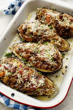 Pork Stuffed Eggplant by theskinnypot: 371 calories/serving #Eggplant #Pork