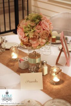 Pastel wedding soft pink and green wedding centerpiece, rustic burlap wedding centerpiece, mason jar wedding centerpiece ideas
