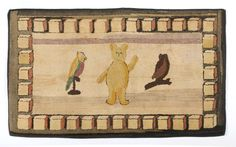 AMERICAN WHIMSICAL HOOKED RUG WITH BEAR, OWL AND PARROT.  Sold: $9,440.00 ($8,000)