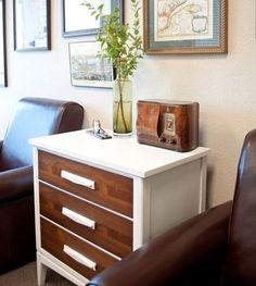 Two-tone brown and white dresser. Paint our ugly nightstands for guest room