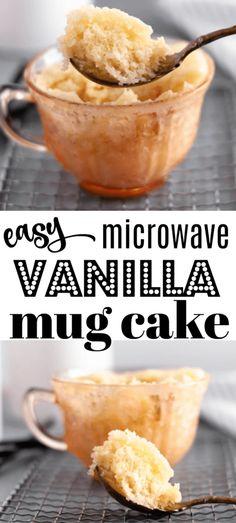 Vanilla Mug Cake Recipe, SO EASY in the Microwave! - Fantabulosity This vanilla mug cake recipe is made in the microwave and is SO easy! Microwave Chocolate Mug Cake, Nutella Mug Cake, Mug Cake Microwave, Chocolate Mug Cakes, Easy Microwave Desserts, Easy Microwave Recipes, Keto Desserts, Easy Mug Cake, Mug Cake Healthy