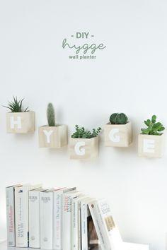 Hygge DIY: Buchstaben Deko für die Wand aus Holz basteln | Schöne Geschenkidee mit Sukkulenten oder anderen Pflanzen | Wanddeko fürs Wohnzimmer | Anleitung auf dem Blog