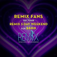 As a thank you for all the love we are offering our fans a REMIX Weekend Package at a special price of $600. This includes a 3 night stay at the Artisan Hotel (home to the REMIX Event) and free entry to all 3 days of REMIX pool parties. We are running this offer for only 24 hours – Limited rooms available.To book your package visit: www.REMIXEVENT.com #RemixEvent #rave #edc #contest #lasvegaspoolparty #artisanvegas #artisanhotel #plur #kandi #ravegirls #raveguys #music #lasvegas #dj #edc…