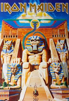 Official Iron Maiden Postcard measuring approx 150mm x 105mm featuring the Powerslave design Global Merchandising Services Officially Licensed