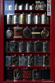 whiskey anyone.The narrow design of this glass case is what makes this work. Cigars And Whiskey, Bourbon Whiskey, Whiskey Bottle, Alcohol Bottles, Gentleman Style, The Zoo, Wines, Mens Fashion, Design