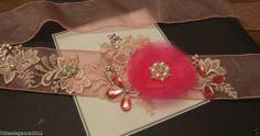 Wedding bridal Sash,Bridal dress belt bridal accessory Hot Pink lacebelt Crystal
