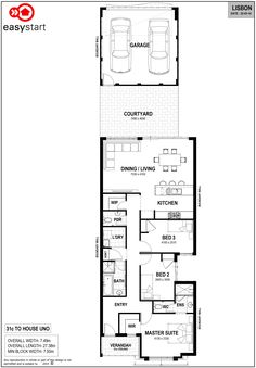 <p>Perfect for 7.5m blocks, the Lisbon includes 3 generous sized bedrooms. With a gourmet kitchen that leads onto an open-plan living area and spacious courtyard, it is no surprise that The Lisbon is a popular choice among first home owners.</p>