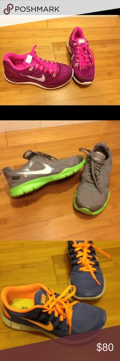 Nike Running Shoes size 6.5, 3 pairs Pink/plum Nike Lunarglide 5. Nike grey/lime In Season TR2 H2O Repel. Nike royal/ neon orange Free 5.0, memory foam insole. All size 6.5, only worn once.     Cannot be bundled with other items, but I may sell separately. Nike Shoes Athletic Shoes