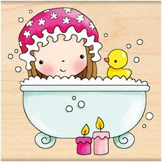 Pampered Mimi (Bath Time) - Rubber Stamp