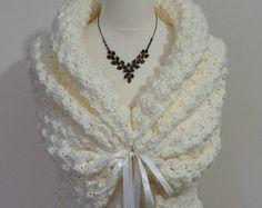 Boda romántico Bolero, Crochet encogiéndose de hombros, Bolero nupcial marfil, primavera boda, nupcial cabo, mantón blanco, capa nupcial, chal de punto