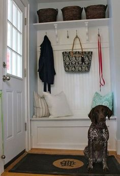 build a mini mudroom, home decor, laundry rooms, This kitchen corner now has a seat with storage coat hooks and shelves
