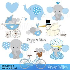 Baggy & Stork, blue - Clip art set in premium quality 300 dpi, Png and Jpeg and Vector files. Jelly Roll Quilt Patterns, Felt Patterns, Elephant Baby Showers, Baby Elephant, Dibujos Baby Shower, Cute Disney Drawings, Decoupage, Baby Album, Baby Scrapbook