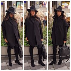 Sunday Stroll!   #Sunday #Ootd #WhatIWear #Outfit #All #Black #Everything #OtherStories #OverKnee #Suede #Boots #Oversized #Boyfriend #Knit #AlexanderWang #Designer #Bag #Cos #Coat #Zara #Fedora #Hat #No #Gym #Clothes #Today