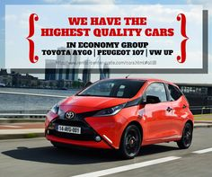 We have the highest quality economic car group to hire in #Crete. Our Group A contains the New #Toyota Aygo, #Volkswagen Up and #Peugeot 107 http://www.rental-center-crete.com/cars.html#all|B