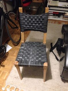 Chaise bois&chambre à air Recycle.MJB 100% Recyclé Tyres Recycle, Reuse, Tire Art, Tire Planters, Old Tires, Bike Parts, Decoration, Gabriel, Weaving