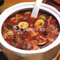 Italská polévka Minestrone recept - Vareni.cz Chili, Food And Drink, Soup, Cooking, Recipes, Kitchen, Chile, Chilis, Soups