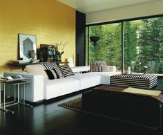 20 Elegant Stripe Furniture Ideas  [Black section of wall at edge.]