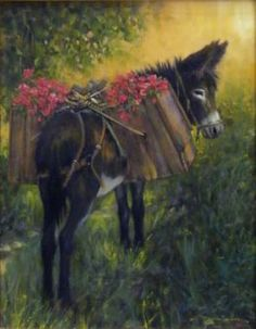 Artist: Dan Bodelson - Title: Boxes of Flowers - Full-Size Image Burritos, Farm Animals, Animals And Pets, Equine Art, Western Art, Horse Art, Zebras, Types Of Art, Art Images
