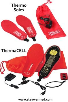 Best rechargeable heated insoles Thermo Soles and ThermaCELL.