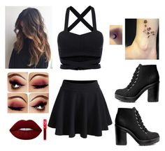"""""""Side to side"""" by barbieboice on Polyvore featuring WithChic, Lime Crime, H&M and Shin Choi"""