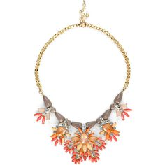 Sole Society Bead And Stone Statement Necklace ($18) ❤ liked on Polyvore featuring jewelry, necklaces, accessories, collares, orange combo, statement necklaces, beaded statement necklace, multi color statement necklace, collar necklaces and orange necklace