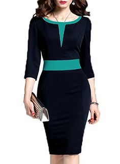d629e0484b WOOSEA Women s 2 3 Sleeve Colorblock Slim Bodycon Business Pencil Dress
