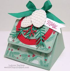 Christmas, Christmas Pines, Oh What Fun, Paper Players, Stampin Up, Stitched with Cheer, Treat Boxes
