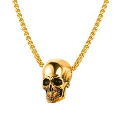 a3bc0efdfb4 Jewelry Skull Necklace Stainless Steel Gothic Biker Pendant   Chain For Men Women  Punk Gift Gold Black Color