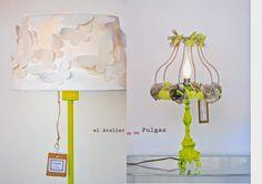 El atelier de las Pulgas. Lámparas Flúor.