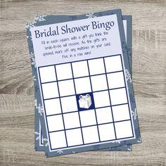 Bridal Shower Bingo INSTANT DOWNLOAD DIY Light Blue Snowflake Bingo Printable Winter Wedding https://www.etsy.com/shop/PurpleConfettiPapers