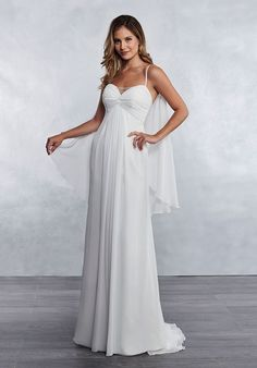 57b3844085a Dreamy modified A-line wedding dress with a twist-front empire waist bodice