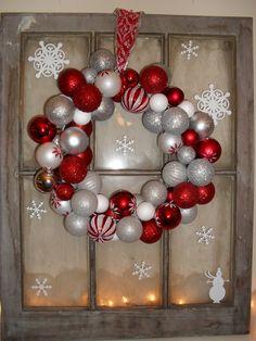 Christmas wreath on vintage window