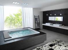 bañera con hidromasaje negra rectangular estilo minimalista                                                                                                                                                      Más