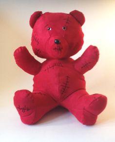 TIM Red Bear  Handmade plush  Red suede par KarPatCreations