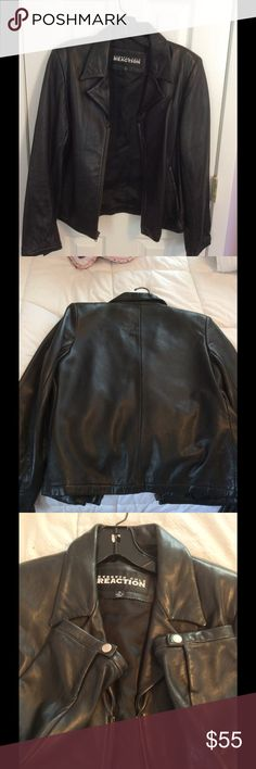 Kenneth Cole Black Lamb Jacket Kennth Cole lamb jacket in size medium. Jacket has long sleeves and zip closure. Jacket is fully lined. This has been worn and is good condition. Signs of wear  is shown in the pic of the left shoulder, leather is slightly worn.  Lamb is soft with a sheen. No holes or odors Kenneth Cole Reaction Jackets & Coats
