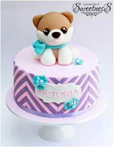 Pink and purple themed puppy birthday cake created by Loan (A Pocket Full of Sweetness) Puppy Birthday Cakes, Puppy Birthday Parties, Themed Birthday Cakes, Birthday Cake Girls, Themed Cakes, Puppy Party, Birthday Ideas, 8th Birthday, Girly Cakes