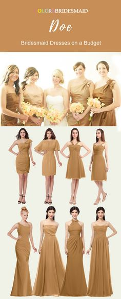 These short and long bridesmaid dresses in doe color (a yellow color shade) are great for a summer or fall wedding. The styles of v-neck, one-shoulder, strapless and bateau neckline etc are highly welcomed and popular. They are mostly sold under $100. These cheap bridesmaid dresses will make you on a budget. All sizes are custom made!