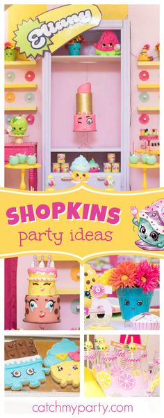 Check out this cute Shopkins birthday party! The birthday cake is amazing!! See more party ideas and share yours at CatchMyParty.com  #partyideas #shopkins