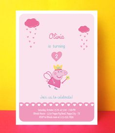 Peppa Pig birthday invitation - Printable - Editable text Pdf - Instant download #peppapig #invitation #birthday