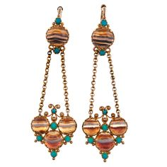 Natural Beauty: Victorian Banded Agate and Turquoise Earrings