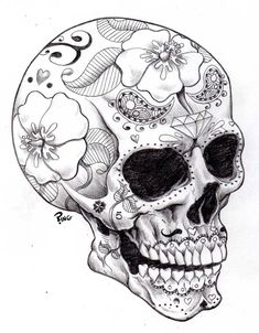 ♠ Day of the Dead Skull. Sugar Skull Designs. #skull #dead